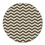 Brown Cocoa Chevron Round Car Magnet