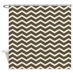 Brown Cocoa Chevron Shower Curtain