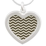 Brown Cocoa Chevron Silver Heart Necklace