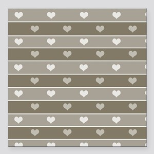 """Brown Cocoa Heart Stripes Square Car Magnet 3"""" x 3"""