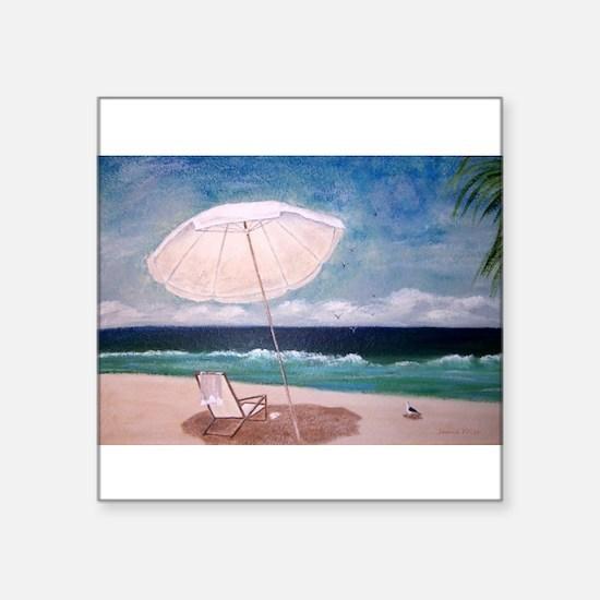 "Beachy Day Square Sticker 3"" x 3"""