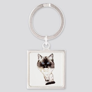 Ragdoll Caricature Square Keychain