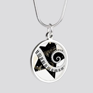 Music star gold black Silver Round Necklace