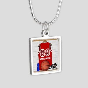 Personalized Basketball Jerse Silver Square Neckla