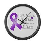 Ribbon Alzheimers Disease Large Wall Clock
