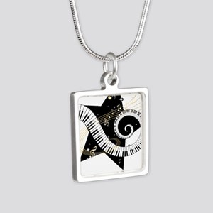 Music star gold black Silver Square Necklace