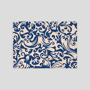Linen & Monaco Blue Swirls 5'x7'Area Rug