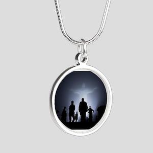 Jesus Light Silver Round Necklace