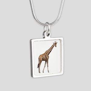 Giraffe Silver Square Necklace