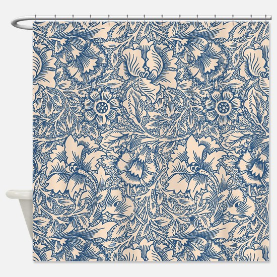 Linen & Monaco Blue Damask #3 Shower Curtain
