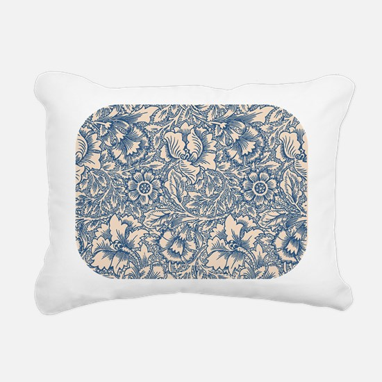 Linen & Monaco Blue Damask #3 Rectangular Canvas P