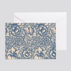 Linen & Monaco Blue Damask #3 Greeting Card