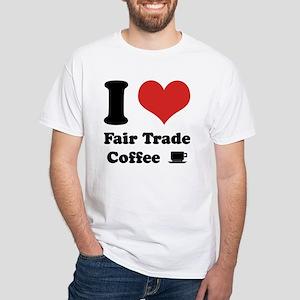 I Heart Fair Trade Coffee White T-Shirt