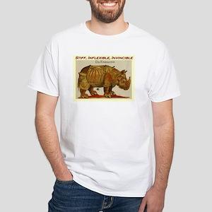 Stiff, Inflexible, Invincible Rhino Brown White T-
