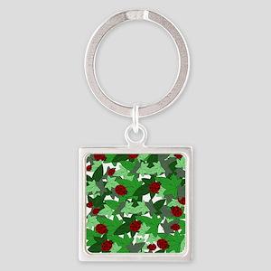 Ladybugs and Ivy white Square Keychain