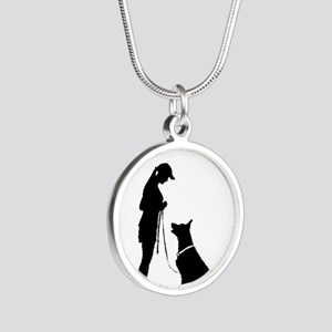German Shepherd Silhouette Silver Round Necklace