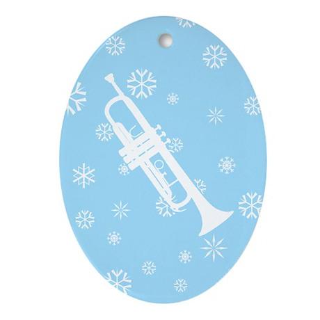 Trumpet Snowflake Ornament (Blue Oval)