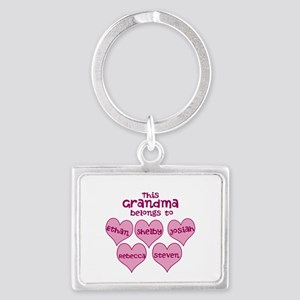 Personalized Grand kids hearts Landscape Keychain