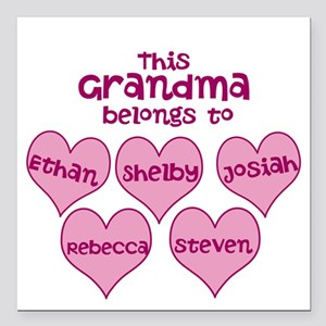Personalized Grand kids hearts Square Car Magnet 3