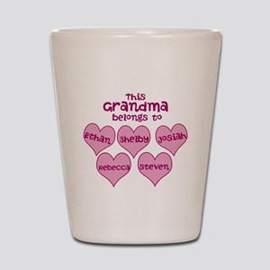 Personalized Grand kids hearts Shot Glass