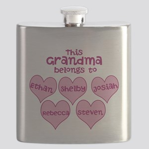 Personalized Grand kids hearts Flask