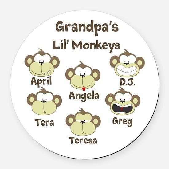 Custom kids monkeys Round Car Magnet