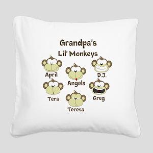 Custom kids monkeys Square Canvas Pillow
