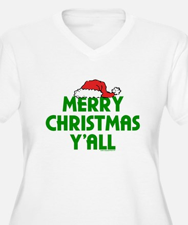 Merry Christmas Yall with Santa at Plus Size T-Shi
