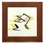 Leo - Stylized Zodiac Symbol Cat Framed Tile