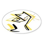 Leo - Stylized Zodiac Symbol Cat Sticker (Oval 10