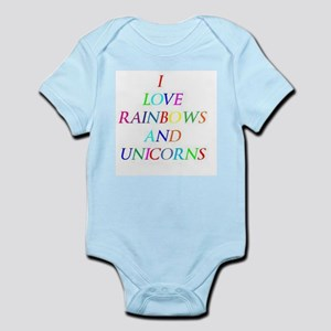 I love rainbows and unicorns Infant Bodysuit