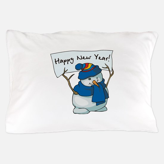 Happy New Years Snowman Pillow Case