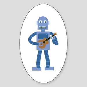 Ukulele Robot Sticker (Oval)