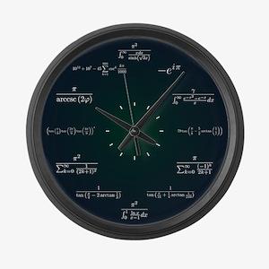 Math Clock (Dark Blue-Dark Green) Large Wall Clock
