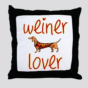 WEINER LOVER Throw Pillow
