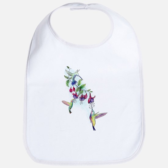 Hummingbird and Fuchsias Baby Bib