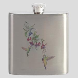 Hummingbird and Fuchsias Flask