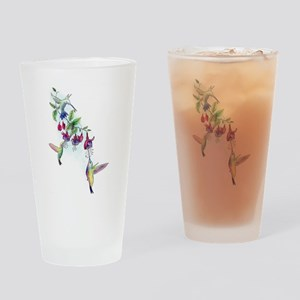 Hummingbird and Fuchsias Drinking Glass