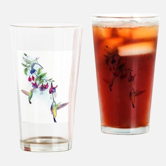 Hummingbird and Fuchsias Drinking Glass