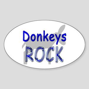 Donkeys Rock Oval Sticker
