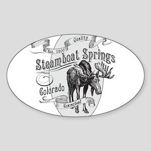 Steamboat Springs Vintage Moose Sticker (Oval)