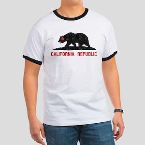 California Grunge Bear Ringer T