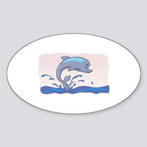 Cute Jumping Dolphin Oval Sticker