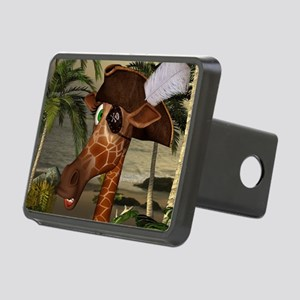 Funny giraffe as pirate on a island Hitch Cover