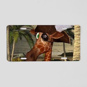Funny giraffe as pirate on a island Aluminum Licen