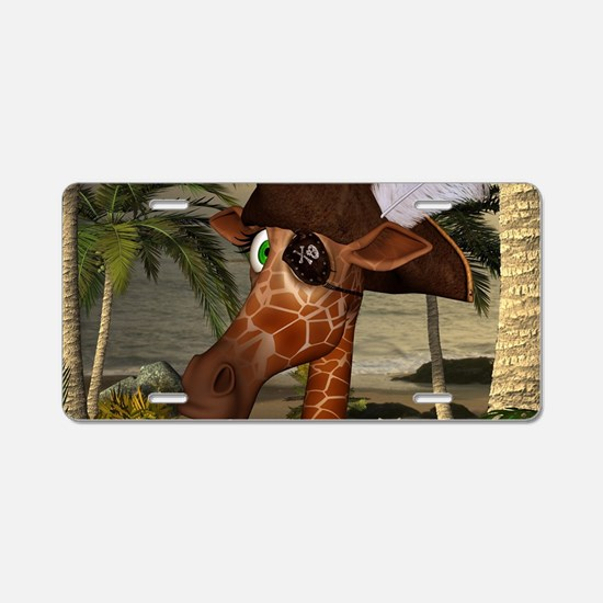 Funny giraffe as pirate on a island Aluminum Licen
