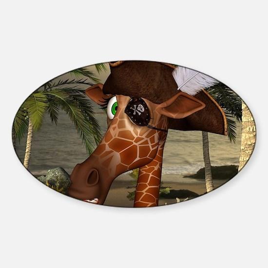 Funny giraffe as pirate on a island Decal