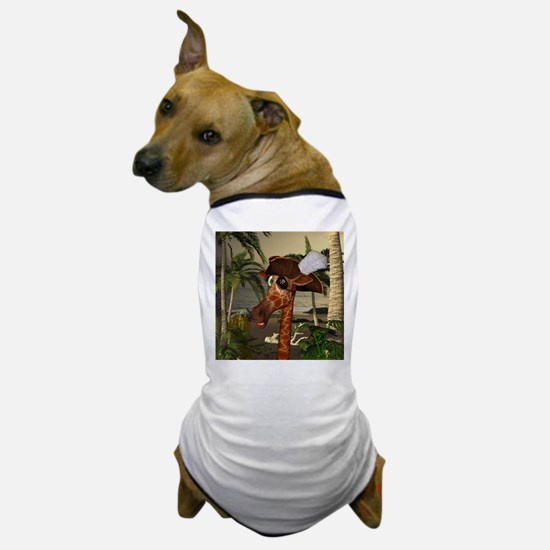 Funny giraffe as pirate on a island Dog T-Shirt