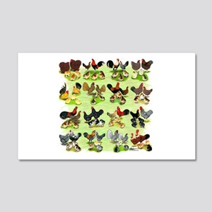 16 Chicken Families 20x12 Wall Decal