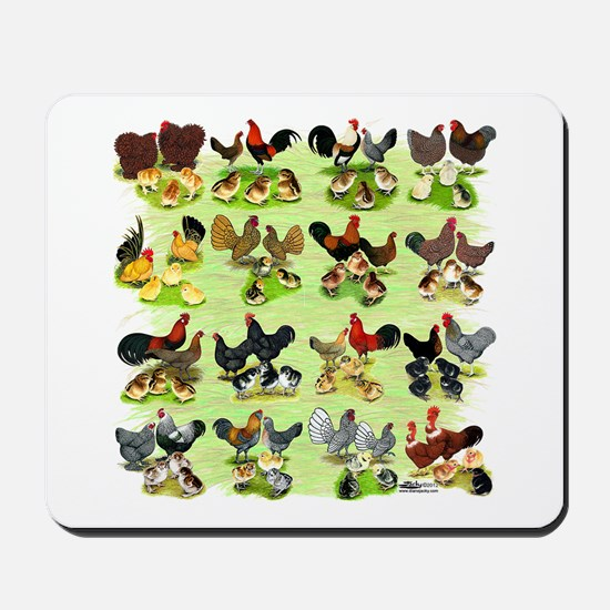 16 Chicken Families Mousepad